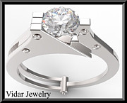Custom Ring Jewelry - Silver Engagement Ring With White Sapphire by Roi Avidar