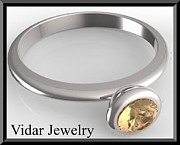Custom Ring Jewelry - Silver Engagement Ring With Yellow Sapphire by Roi Avidar