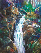 Sparkling Mixed Media Framed Prints - Silver Falls Framed Print by Patricia Allingham Carlson