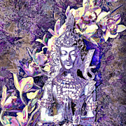 Hindu Goddess Mixed Media Metal Prints - Silver Goddess Metal Print by SiriSat