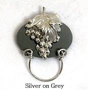 Wine Holder Art - Silver Grapes on Grey by Laura Wilson