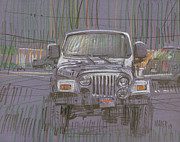 Silver Drawings Posters - Silver Jeep Poster by Donald Maier