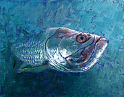 Salt Water Fish Posters - Silver King Tarpon Poster by Pam Talley