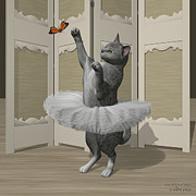 Tutus Digital Art - Silver Mau Ballet Cat on Paw-te by Andre Price