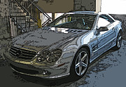 Sheats Framed Prints - Silver Mercedes Benz SL500 Framed Print by Samuel Sheats