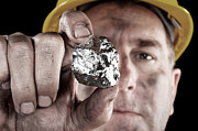 Valuable Prints - Silver miner with nugget Print by Joe Belanger