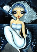 Aceo Prints - Silver Moon Print by Elaina  Wagner