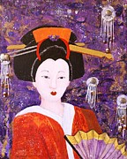 Kimono Framed Prints - Silver Moon Geisha Framed Print by Jane Chesnut