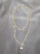 Nugget Necklace Art - Silver nugget chain necklace by Jan Durand