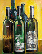 Wine Bottle Paintings - Silver Oak by Sheri  Chakamian