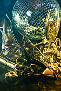 Bubbly Prints - Silver party shoes on floor with champagne glass  Print by Sandra Cunningham