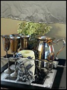 Silver Pitcher Posters - Silver Pitcher and Cordials Poster by Ellen Cannon