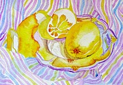 Elena Mahoney Prints - Silver plate with lemons Print by Elena Mahoney