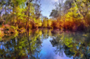 Water Reflections Prints - Silver River Colors Print by Christine Till
