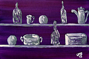 Boxes Paintings - Silver Shelves by Greg Mason Burns