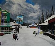 Ski Resort Paintings - Silver Star Resort by Cynthia Langford