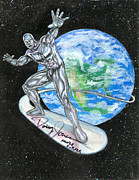Marvel Drawings Framed Prints - Silver Surfer Framed Print by Scott Parker
