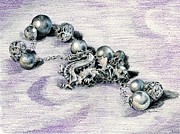 Jewelry Drawings Originals - Silver Tangle by K M Pawelec