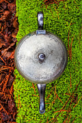 Mossy Prints - Silver teapot in the forest Print by Edward Fielding