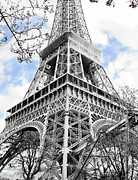 Eiffel Tower Mixed Media Metal Prints - Silver-Toned Eiffel Tower Metal Print by Kelly Schutz