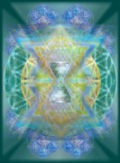 Chalicebridge.com Posters - Silver Torquoise ChaliCell Ring Flower Of Life Matrix Poster by Christopher Pringer
