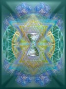 Chalicell Prints - Silver Torquoise ChaliCell Ring Flower Of Life Matrix II Print by Christopher Pringer