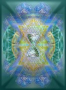 Chalicell Prints - Silver Torquoise ChaliCell Ring Flower Of Life Matrix III  Print by Christopher Pringer