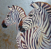 Equine Paintings - Silver Zebras by Gill Bustamante