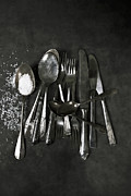 Forks Prints - Silverware With Salt Print by Joana Kruse