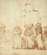 Temple Drawings - Simeon and Jesus in the Temple by Rembrandt Harmenszoon van Rijn
