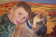 Boxer Paintings - Simon with Bronx by Stella Sherman