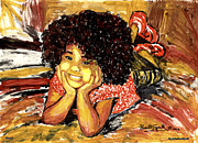 Harlem Mixed Media Prints - Simone Print by Everett Spruill