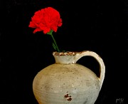 Simple Carnation In Pottery Print by Marsha Heiken