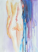 Peach Originals - Simple Nude with Abstract Veil by Beverley Harper Tinsley
