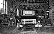 Car Repairs Photo Prints - Simpler Times 2 monochrome Print by Steve Harrington