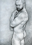 Male Nude Drawings - Simplicity 4 by Chris  Lopez