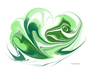 Simplicity In Green Print by Louise Lamirande