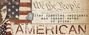 Star Spangled Banner Painting Metal Prints - Simplified America Metal Print by Grace Pullen