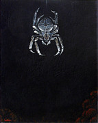 Dark Grey Posters - Simply Spider Poster by Cara Bevan