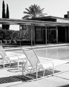 Midcentury Photo Posters - SINATRA POOL BW Palm Springs Poster by William Dey