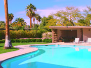 Cabana Prints - SINATRA POOL CABANA Palm Springs Print by William Dey