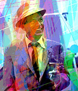 Singer Painting Metal Prints - Sinatra Swings Metal Print by David Lloyd Glover