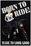 Girl On Bike Framed Prints - SINderella - Sick as Sin Framed Print by The Pinup Academy