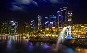 Bund Framed Prints - Singapore financial district Framed Print by Anek Suwannaphoom