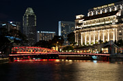 Fullerton Prints - Singapore Fullerton Hotel At Night Print by Rick Piper Photography