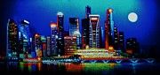 City Skylines Paintings - Singapore in black light SOLD by Thomas Kolendra