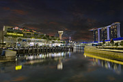 Esplanade Outdoor Prints - Singapore River at Night Print by David Gn