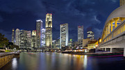Architeture Prints - Singapore Skyline from Boat Quay Print by JPLDesigns