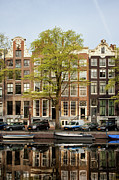 Linked Metal Prints - Singel Canal Houses in Amsterdam Metal Print by Artur Bogacki