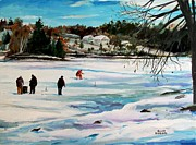Millbury Paintings - Singeltary Lake Ice Fishing by Scott Nelson